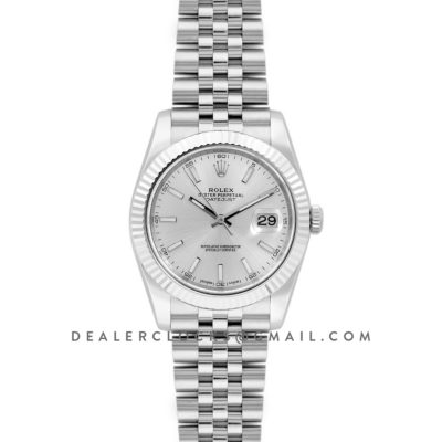 Datejust 41 126334 Silver Dial Stick Markers in White Gold