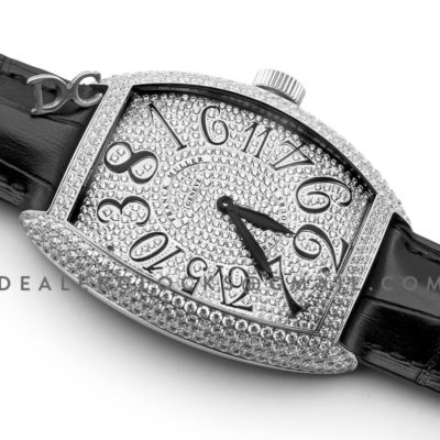 Crazy Hours White Diamond Dial With Black Markers in Steel