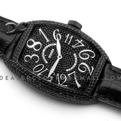 Crazy Hours Black Diamond Dial With White Markers in PVD