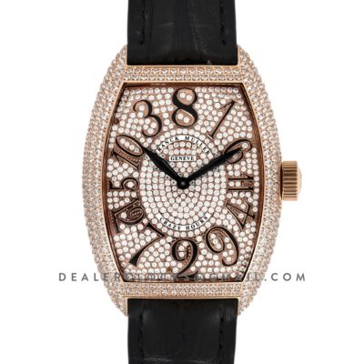 Crazy Hours Diamond Dial With Black Markers in Rose Gold