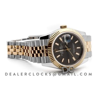 Datejust 36 126283RBR Dark Rhodium Dial in Yellow Gold and Steel with Stick Markers