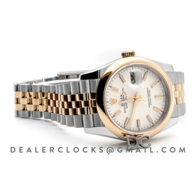 Datejust 36 126201 White Dial in Yellow Gold and Steel with Stick Markers