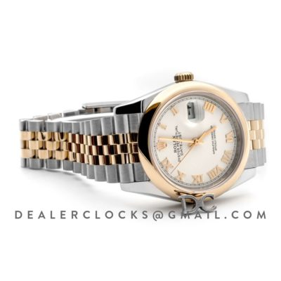 Datejust 36 126201 White Dial in Yellow Gold and Steel with Roman Markers