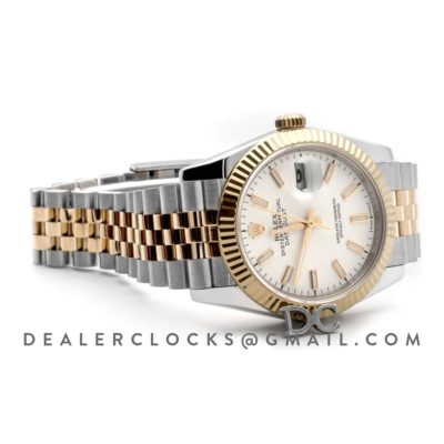 Datejust 36 126283RBR White Dial in Yellow Gold and Steel with Stick Markers