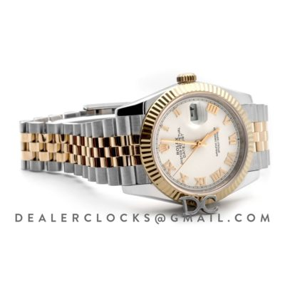Datejust 36 126283RBR White Dial in Yellow Gold and Steel with Roman Numerals Markers