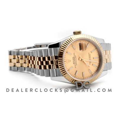 Datejust 36 126283RBR Champagne Dial in Yellow Gold and Steel with Stick Markers