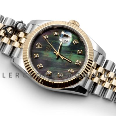 Datejust 36 126283RBR Grey MOP Dial in Yellow Gold and Steel with Diamond Markers
