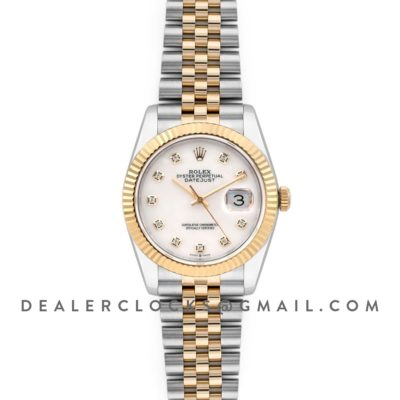 Datejust 36 126283RBR White MOP Dial in Yellow Gold and Steel with Diamond Markers