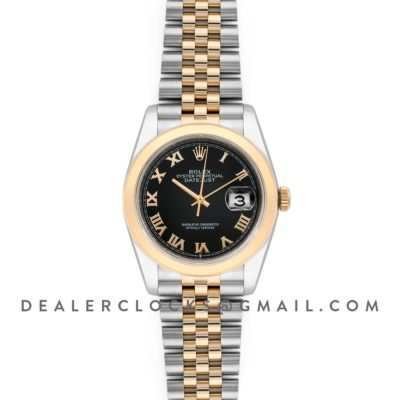 Datejust 36 126201 Black Dial in Yellow Gold and Steel with Roman Markers
