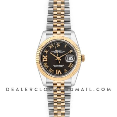 Datejust 36 126283RBR Dark Rhodium Dial in Yellow Gold and Steel with Diamond Roman Numerals Markers