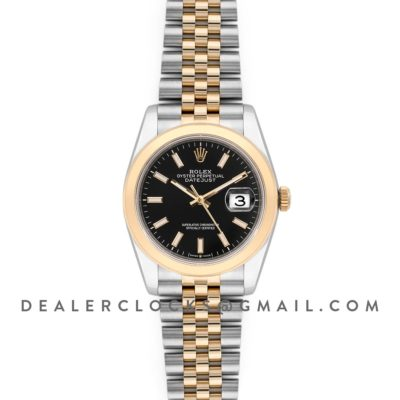 Datejust 36 126201 Black Dial in Yellow Gold and Steel with Stick Markers