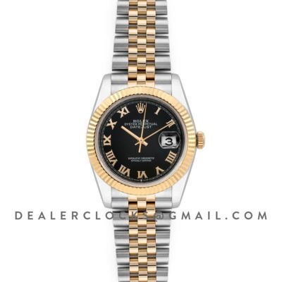 Datejust 36 126283RBR Black Dial in Yellow Gold and Steel with Roman Numerals Markers