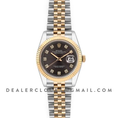 Datejust 36 126283RBR Dark Rhodium Dial in Yellow Gold and Steel with Diamond Markers