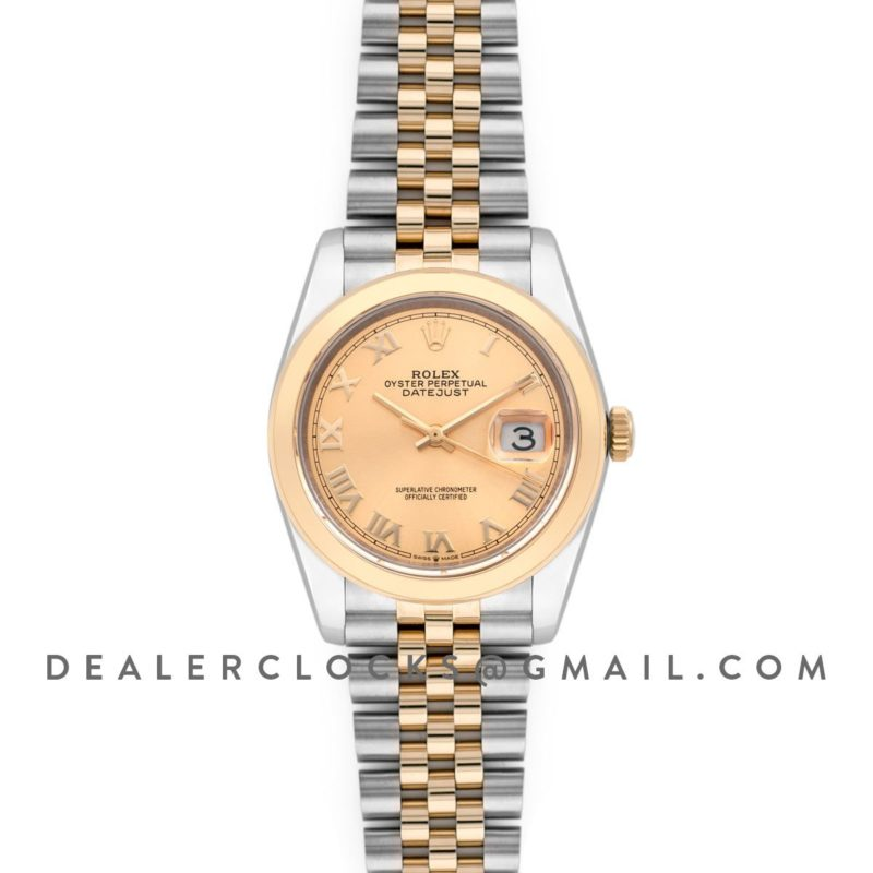 Datejust 36 126201 Champagne Dial in Yellow Gold and Steel with Roman Markers