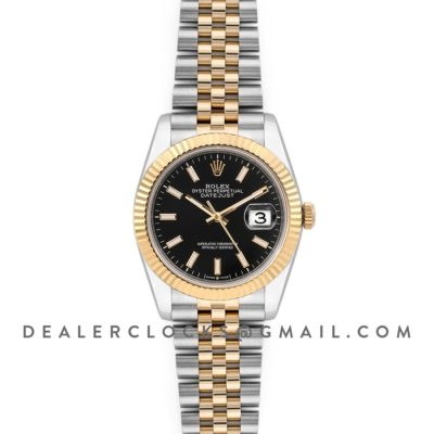 Datejust 36 126283RBR Black Dial in Yellow Gold and Steel with Stick Markers