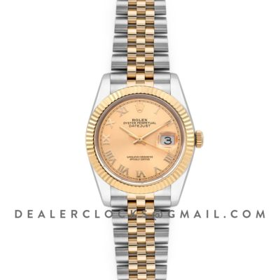 Datejust 36 126283RBR Champagne Dial in Yellow Gold and Steel with Roman Numerals Markers