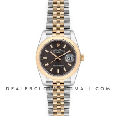 Datejust 36 126201 Dark Rhodium Dial in Yellow Gold and Steel with Stick Markers