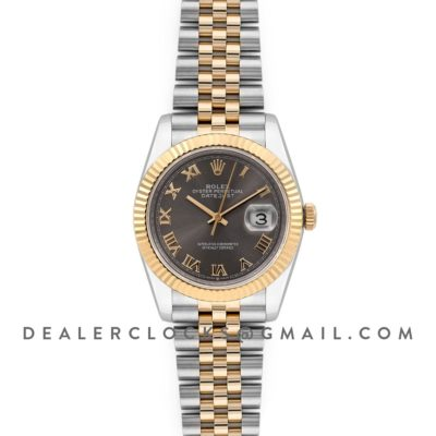 Datejust 36 126283RBR Dark Rhodium Dial in Yellow Gold and Steel with Roman Numerals Markers