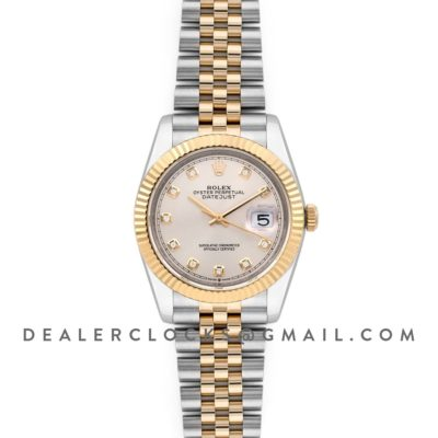 Datejust 36 126283RBR Silver Dial in Yelllow Gold and Steel with Diamond Markers