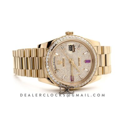 Day-Date 40 Yellow Gold Diamond bezel and Paved Dial 228396