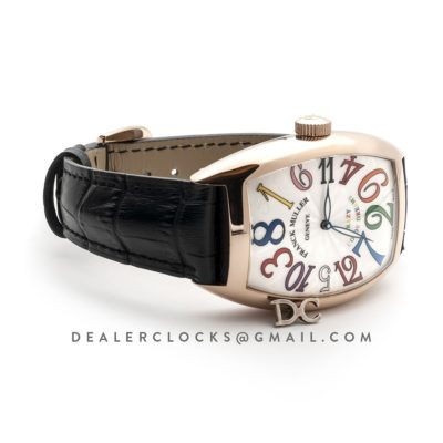 Crazy Hours White Dial with Colourful Markers in Rose Gold