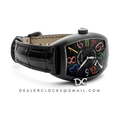 Crazy Hours Black Dial with Colourful Markers in PVD