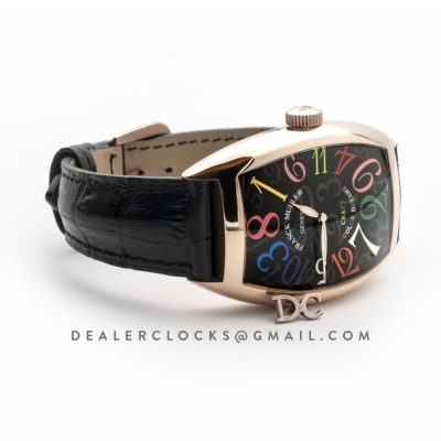 Crazy Hours Black Dial with Colourful Markers in Rose Gold