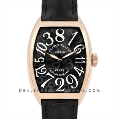 Crazy Hours Black Dial with White Markers in Rose Gold