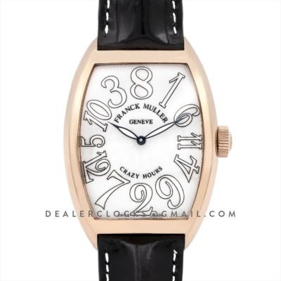 Crazy Hours White Dial with White Markers in Rose Gold