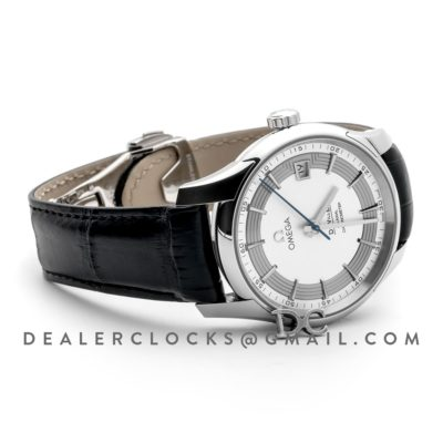 De Ville Co-Axial Chronometer White Dial in Steel on Black Leather Strap