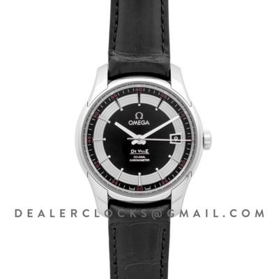 De Ville Co-Axial Chronometer Black Dial in Steel on Black Leather Strap