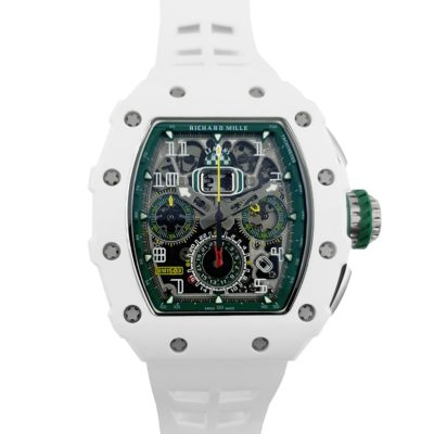 RM 011-02 Le Mans Classic Chronograph in Green on White Rubber Strap