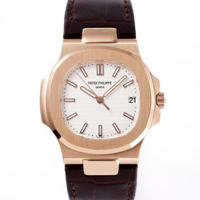 Nautilus Jumbo 5711 White Dial in Rose Gold with Brown Leather Strap