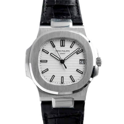 Nautilus Jumbo 5711 White Dial in Steel with Black Leather Strap